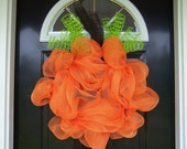 Handmade Boutique Deco Mesh Front Door Pumpkin Wreath Fall