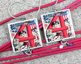 Patriotic Scrabble Tile Earrings, Fourth of July Earrings, July 4th Earrings, Swarovski Earrings, Patriotic Jewelry, Scrabble Tile Earrings