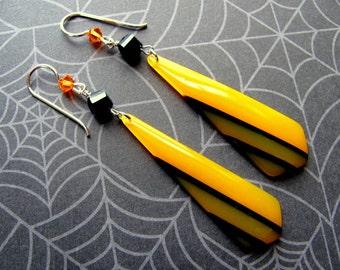 Orange Teardrop Earrings, Halloween Earrings, Orange & Black Earrings, Swarovski Earrings, Lucite Earrings, Dangle Earring, Holiday Earrings