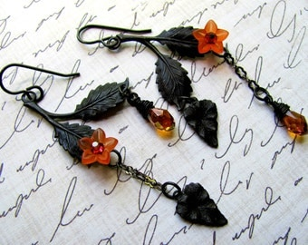Woodland Leaf Earrings, Vintaj Earrings, Orange Earrings, Swarovski Earrings, Leaf Earrings, Black Earrings, Autumn Earrings, Dangle Earring