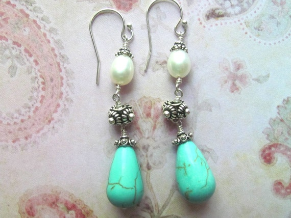 Turquoise Earrings, Pearl Earrings, Bali Earrings, Turquoise Jewelry, Pearl Jewelry, Dangle Earrings, Blue Earrings, Southwest Earrings