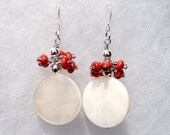 Mother of Pearl and Coral Earrings