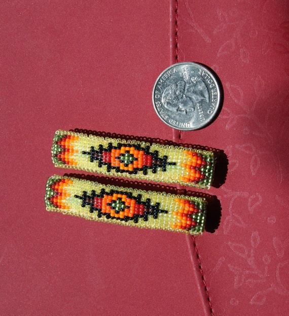 Navajo Rug Design Beaded Hair Barrette or Clip