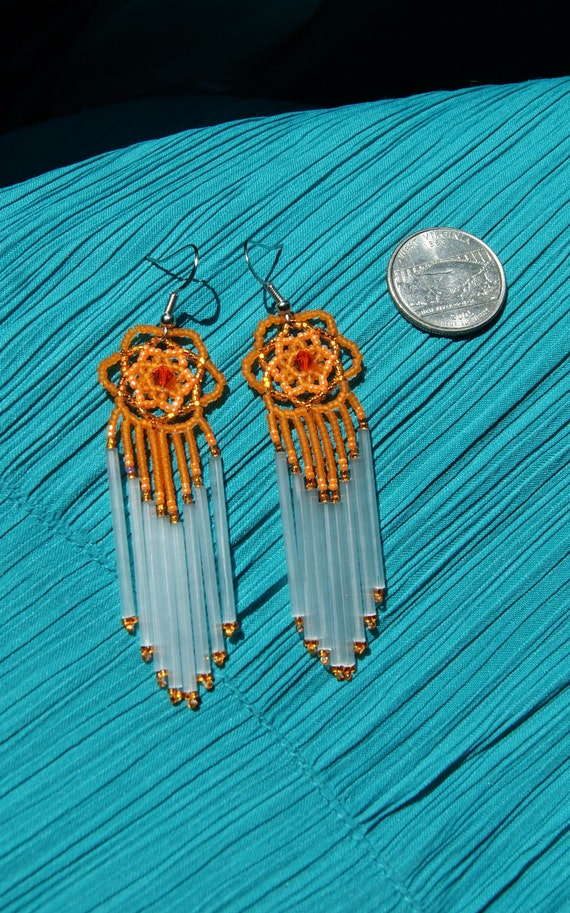 Beautiful Oranges Dangle Dream Catcher Earrings