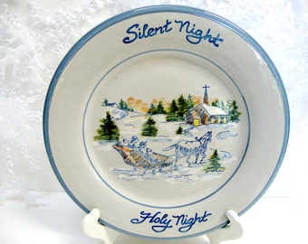 Vintage Silent Night Holy Night Plate by Louisville Stoneware