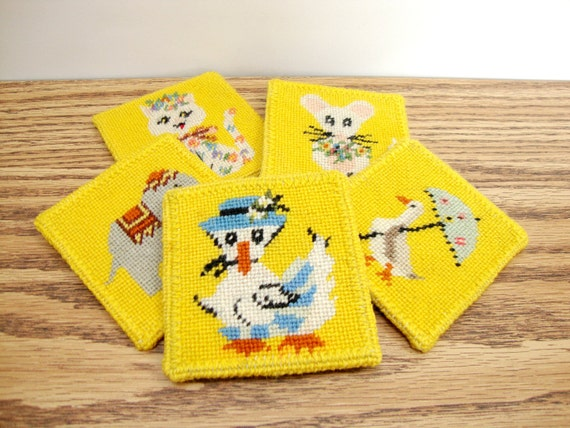 Vintage Bright Yellow Needlepoint Pictures