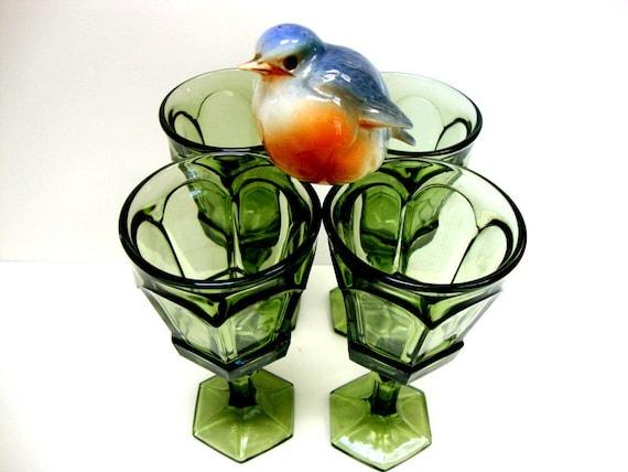 Vintage Green Goblets
