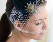 bridal birdcage veil: blue skies