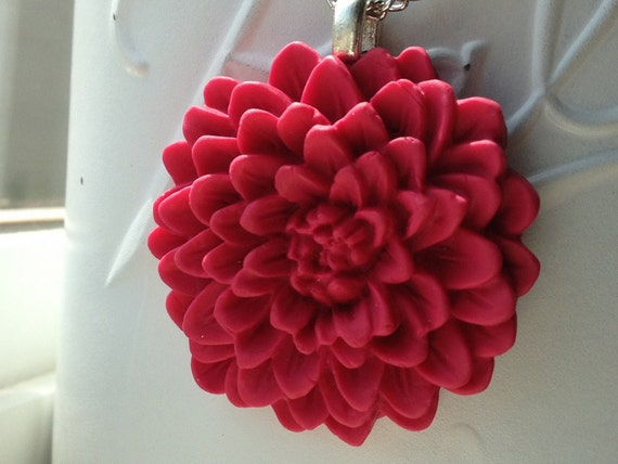Flower Necklace Bright Pink Chrysanthemum Polymer Clay