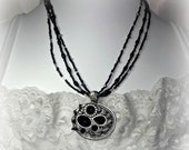 Black, Antiqued Silver Necklace Set