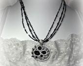 Black, Antiqued Silver Necklace Set