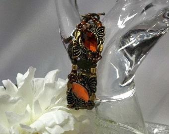 Orange, Antique Brass Bracelet