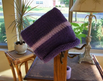 Baby Hat in Purple with a Stripe