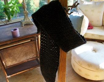 Crochet Scarf in Black Glitter Yarn