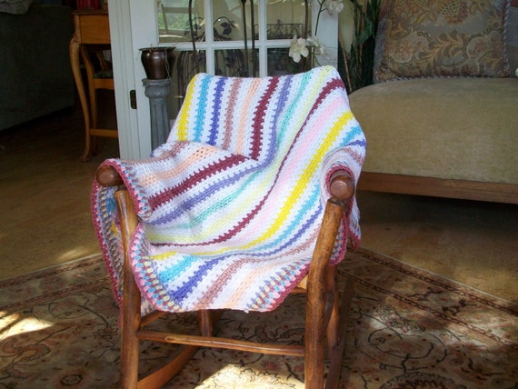 Crochet Baby Blanket with Multi colored Stripes