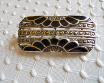 Sterling silver Black Onyx and Marcasite Art Deco pin
