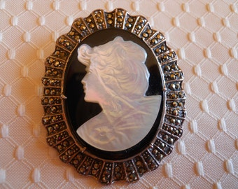 Large Sterling Silver  Mother of Pearl and Onyx Cameo Pin/Pendant with Marcasites