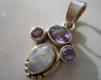 Sterling Silver Rainbow Moonstone and Amethyst Pendant