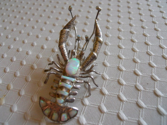 Sterling Silver and Opal Lobster Pin or Pendant