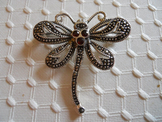 Sterling Silver Dragonfly with Garnets and Marcasites