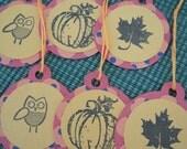 Fall Tags, Fall Gift Tag, Halloween Tag, Halloween Gift Tag, Fall Stamped Tag, Fall Scrapbook Embellishment