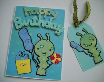 Handmade Birthday Card, Happy Birthday Card, Child Birthday Card, Happy Birthday Worm, Happy Birthday Handmade Card and Tag Set Worm
