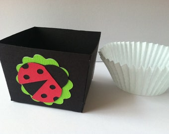 Ladybug Birthday Cupcake Wrapper, Nut Cup, Candy Cup, Favor Cup, Treat Cup, Little Lady Theme, Dozen Black and Red READY TO SHIP