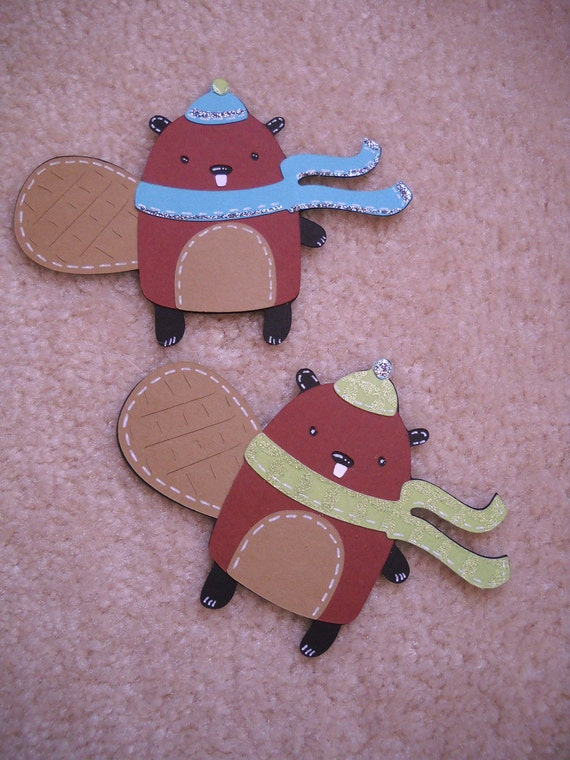 Winter Beavers Die Cut, Winter Die Cut, Christmas Die Cut, Christmas Scrapbook, Winter Woodland Scrapbooking Glittery Die Cuts 2 pc