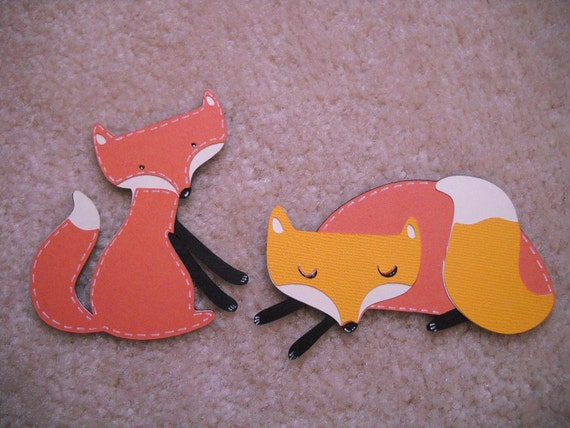 Fox Scrapbooking Embellishments 2 pc