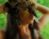 Great Horned Owl Masquerade Mask IV - FREE FEATHER Hair Extension