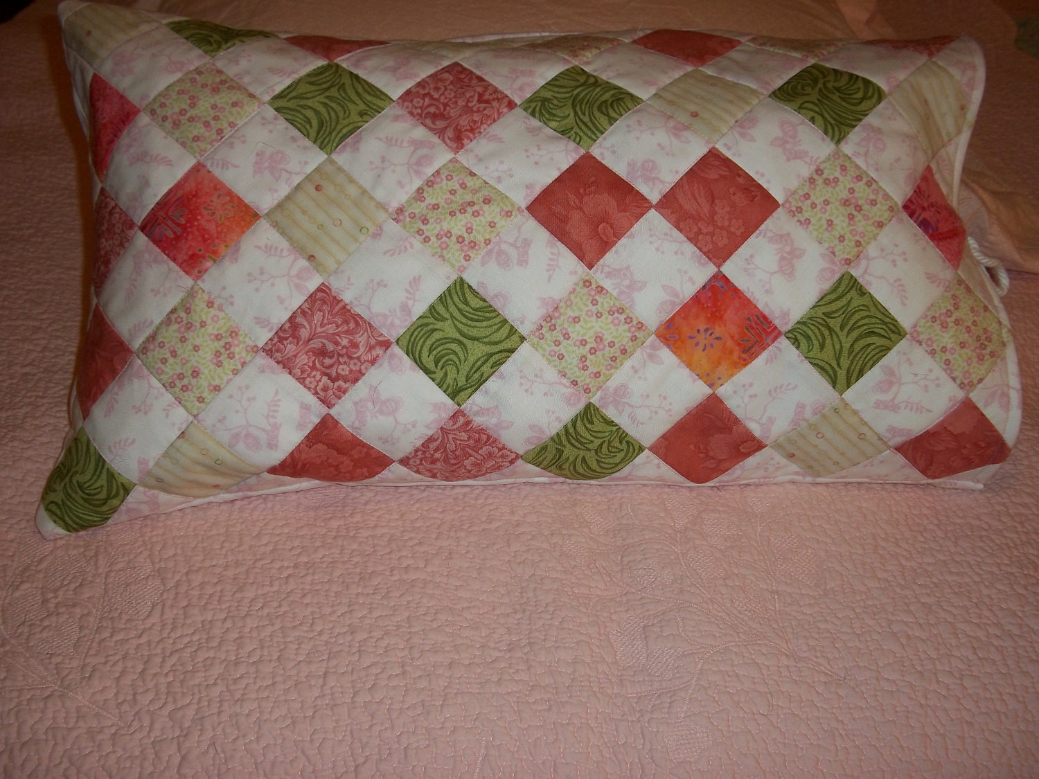 Decorative Quilted Pillow Covers : decorative quilted bed pillow cover in pink by compulsivequilter