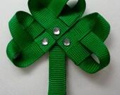 Saint Patricks Shamrock Hair-clip (Ribbon Sculpture)