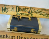 Vintage Mutual Orange Distributors Wood Crate End Advertising Sign - Home Decor - Wall Hanging