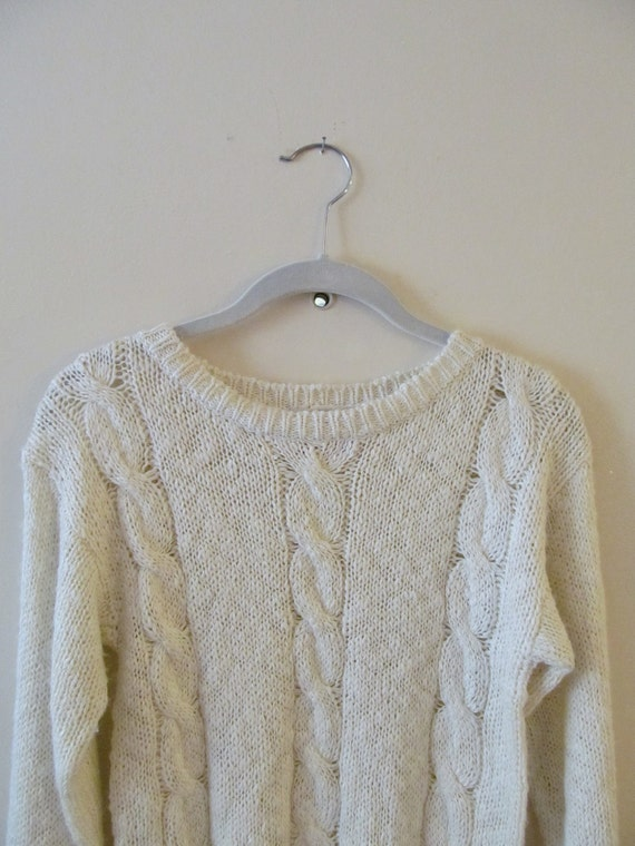 Cable Knit Sweater S 32 34 Bust