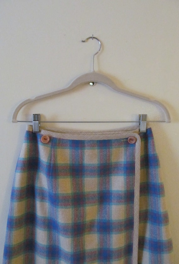 Pendleton Plaid Wool Wrap Skirt S 26 Waist