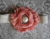 SALE Newborn Baby Girl Headband- Baby Headband- Pink Rose Shabby Chic Flower with Pearl