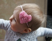 Children's Pink Heart Headband -Toddler Headband- Heart Baby Headband - Red Heart Headband