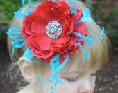 SALE Dr Seuss Red and Turquoise Baby Headband- Cat in the Hat Headband- Toddler Headband