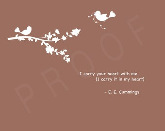 PERSONALIZED Wedding Gift -  I carry your heart with me 8x10 Print