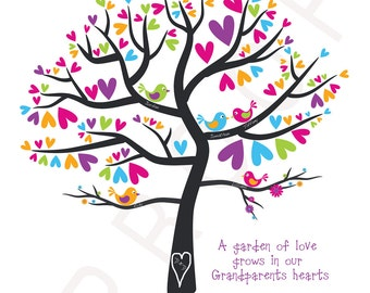 Personalized Family Tree Art Print Wedding Gift Anniversary Date Personalized Keepsake Love Birds Custom Colors 11x14 Print