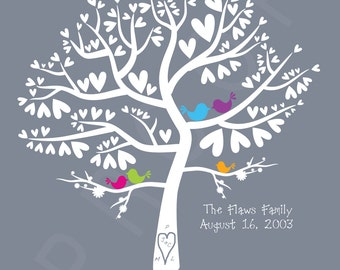 Wedding Gift Love Birds Colour Pop Silhouette Family Tree - Personalized Birds in a Heart Tree 11x14 Print