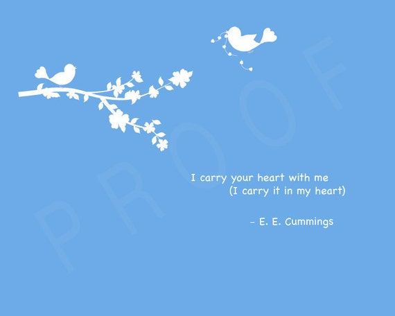 I carry your heart with me EE Cummings Wedding Anniversary Wall Print - 8x10