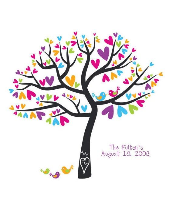 Family Tree Art Print Wedding Gift Anniversary Date Personalized Keepsake Love Birds Custom Colors 8x10 Print