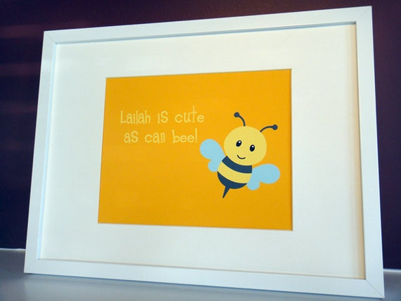 Cute as can Bee - Personalized 8x10 Print - Gender Neutral Decor - Personalized Bee - Wall Art - Custom Artwork - Garden Decor -Spring Decor