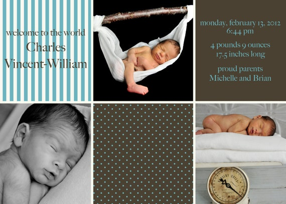 Custom Baby Boy You Print Birth Announcement - Chocolate and Blue 5x7 or 4x6