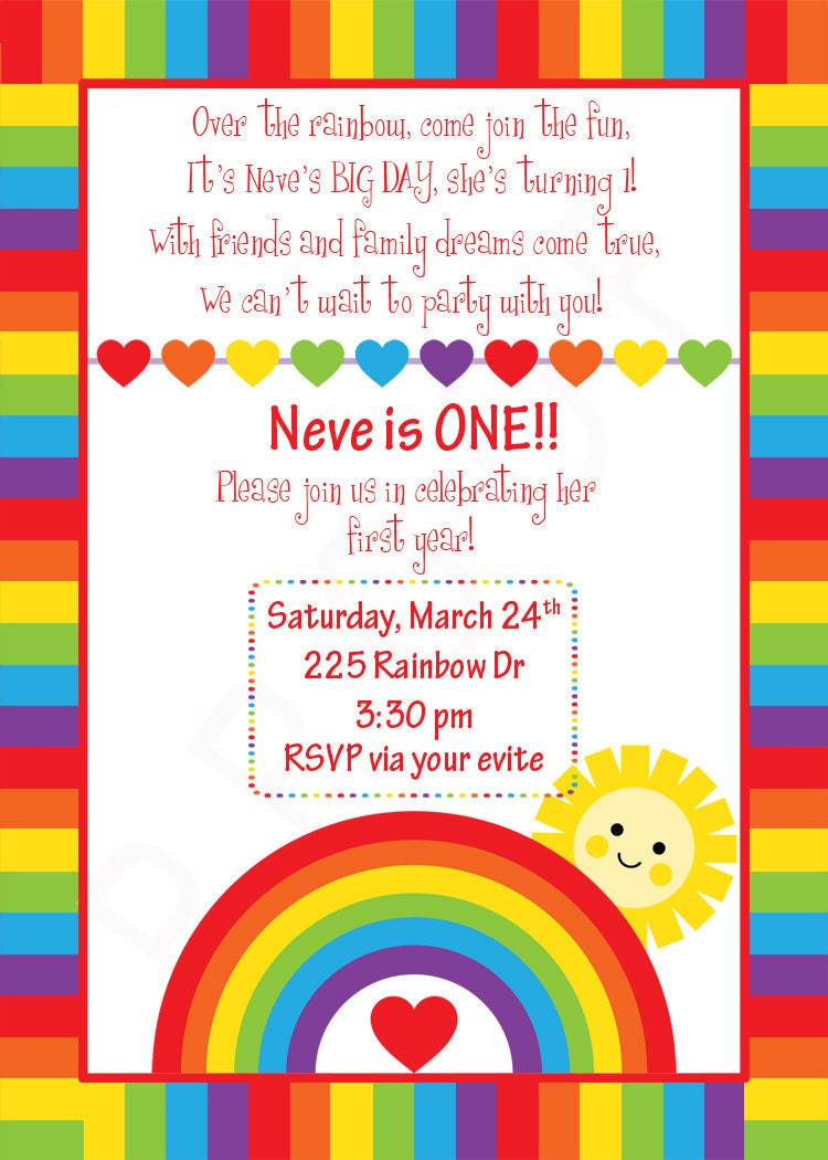 Custom Rainbow Birthday Invitation Rainbow Design You Print