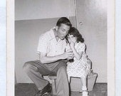 FATHER DAUGHTER Dad and his Girl go Roller Skating and share Soda Vintage 50s PHOTO