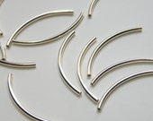 25 Curved tubes spacer bars silver plated brass 38x2mm 2760MB