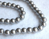 Pewter gray charcoal glass pearl beads round 8mm full strand 7774GB