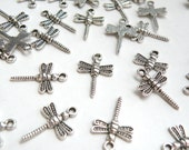 10 Dragonfly Charms antique silver 22x15mm KA11441